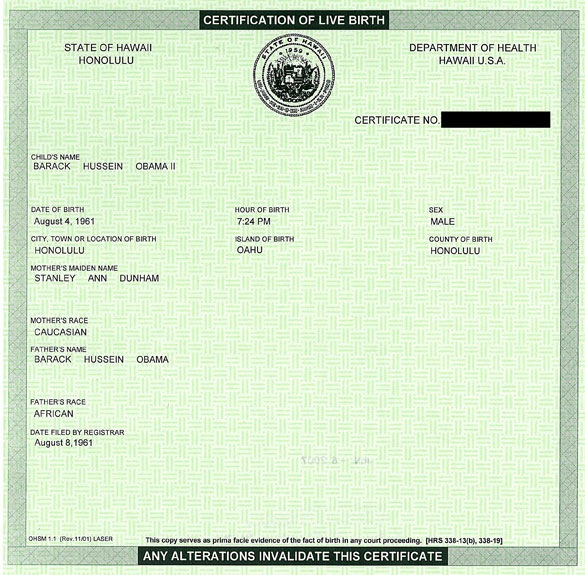 "A copy of Barack Obama's birth cerfiicate circuated in response to right wing ""birthers"" challenging his citizenship."