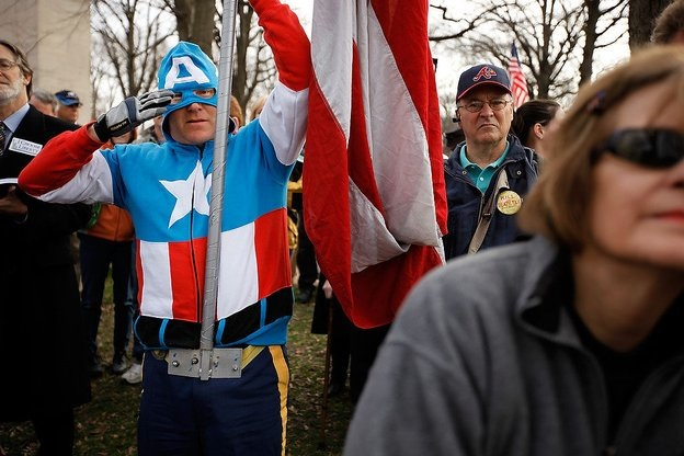 Tea Party becomes a joke. (Captain) America in decline.