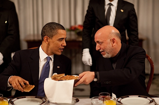 A shot of Obama and Karzai ... before the President of Kabul burned down the breakfast club.