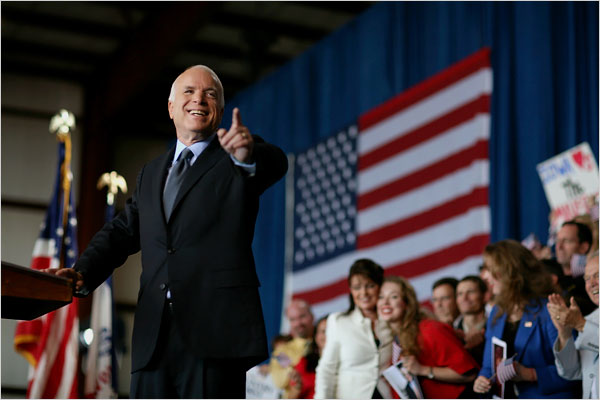 Your Turn: Red, White And Blue + White + Lot More Red.  Oh Yeah, There's McCain, Too.